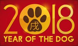Paw Print por el año chino del perro en 2018, ejemplo del vector stock de ilustración