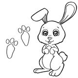 Paw print with Rabbits Coloring Pages vector. Image of paw print with Rabbits Coloring Pages vector Royalty Free Stock Photography