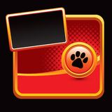 Paw print on red halftone background Stock Photography