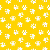Paw print seamless pattern. Animal footprint seamless pattern vector illustration Stock Images