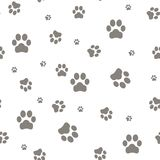 Paw print seamless pattern on white background. Eps10 Stock Image