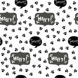 Paw print seamless. Traces of Cat Textile Pattern. Vector seamless. Stock Photo