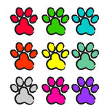 Paw print set. Colorful paw print set on white background Stock Images