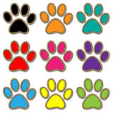 Paw Print set Stock Photo