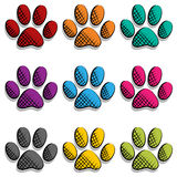 Paw print set Stock Image