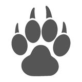 Paw print. Simple icon of a tiger paw print stock image