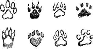 Paw Print Sketch Set Imágenes de archivo libres de regalías