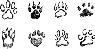 Paw Print Sketch Set Imagens de Stock Royalty Free