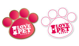 Paw print stickers with text I love pet and stars. Paw print stickers and text I love pet and stars with shadow Royalty Free Stock Image