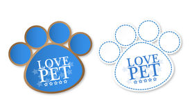 Paw print stickers with text love pet and stars. With soft shadow Royalty Free Stock Image