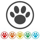 Paw Print Symbol, 6 Colors Included Royalty Free Stock Photo