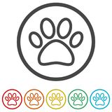Paw Print Symbol, 6 Colors Included Stock Photo