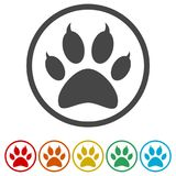 Paw Print Symbol, 6 Colors Included Royalty Free Stock Images