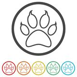 Paw Print Symbol, 6 Colors Included Royalty Free Stock Image