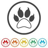 Paw Print Symbol, 6 Colors Included Royalty Free Stock Photos