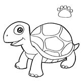 Paw print with turtle Coloring Pages vector Stock Photos