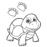 Paw print with turtle Coloring Pages vector Royalty Free Stock Photography