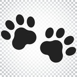 Paw print vector icon. Dog or cat pawprint illustration. Animal. Silhouette. Simple business concept pictogram on isolated background Stock Photography