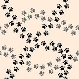 Paw print vector seamless cartoon pattern. Vector print royalty free illustration