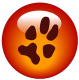 Paw print web button Stock Images