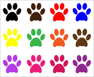 Paw Prints. Animal / pet cat and dog paw print in assorted colors, vector royalty free illustration