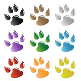 Paw Prints. Illustration animals paws print on a white background Royalty Free Stock Image