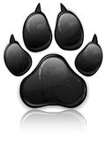 Paw Prints. Black animal paw print isolated on white, vector illustration vector illustration