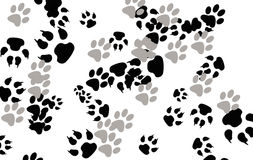 Paw prints. Colorful Animal / dog paw prints seamless background royalty free illustration