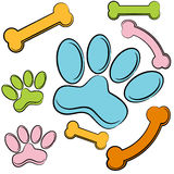 Paw Prints and Bones Stock Photography