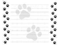 Paw prints border. Cute pets [dogs and cats] paw prints border with lined paper