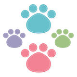 Paw prints color on white background Stock Images
