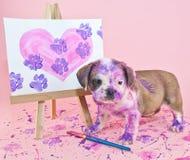 Paw Prints em seu coração Imagens de Stock