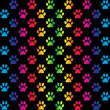 Paw prints in gradient rainbow colors, on black Stock Photo