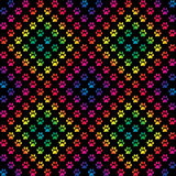Paw prints in gradient rainbow colors in a diamond pattern Stock Photography