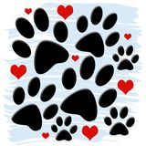 Paw Prints and Hearts. A nice design of paws and hearts with light blue brush stroke background Royalty Free Stock Photos