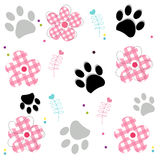 Paw prints with plaid pattern abstract flower. Vector illustraton background Royalty Free Stock Photo