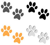 Paw prints set on white background Royalty Free Stock Photo