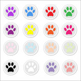 Paw Prints on stickers. Set of 16 colorful animal pet dog and cat paw prints on stickers, ideal for crafting and card making, vector Royalty Free Stock Image
