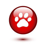 Paw on red button Royalty Free Stock Photos