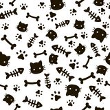 Paw seamless pattern. Animal footprints and bones. Cat dog paws wallpaper, cute puppy pet cartoon vector background. Paw seamless pattern. Animal footprints and stock illustration
