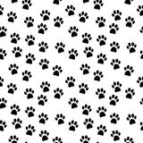 Paw seamless pattern. On white background Royalty Free Stock Photography