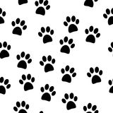 Paw seamless pattern. On white background Royalty Free Stock Images
