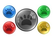 Paw Sign, bouton, illustration 3d Photographie stock libre de droits