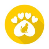 Paw Sign, Cat, Heart with long shadow - illustration Royalty Free Stock Photo