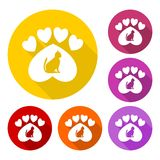 Paw Sign, Cat, Heart with long shadow set - illustration Royalty Free Stock Images