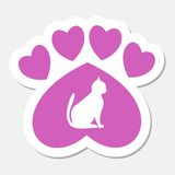 Paw Sign, Cat, Heart pink sticker- illustration Royalty Free Stock Image