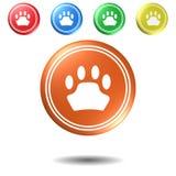 Paw Sign-Druckknopfsatz, Illustration 3D Lizenzfreies Stockfoto