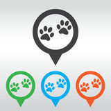 Paw sign icon. Dog pets steps symbol. icon map pin Royalty Free Stock Images