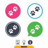 Paw sign icon. Dog pets steps symbol. Stock Photo