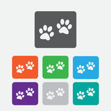 Paw sign icon. Dog pets steps symbol. Round Stock Photo